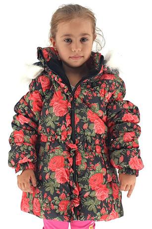 Alkan - 4-7 Yaş Kız Çocuk Çiçekli Mont
